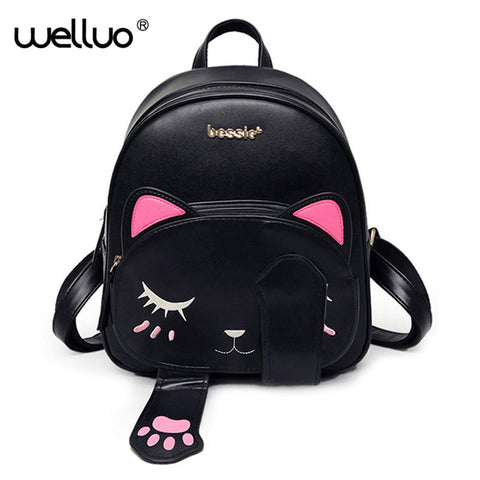 Cat  PU Leather backpack for teenage girls