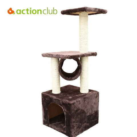 Actionclub Cat Scratching USA Domestic Delivery Wood Climbing Tree Cat Tree Condo Furniture Scratching Post Tunnel Pet Toy Play