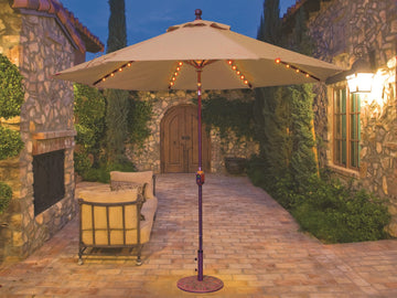 Galtech Aluminum 9 Foot Auto Tilt Crank Lift Umbrella with LED Lights 936 Series