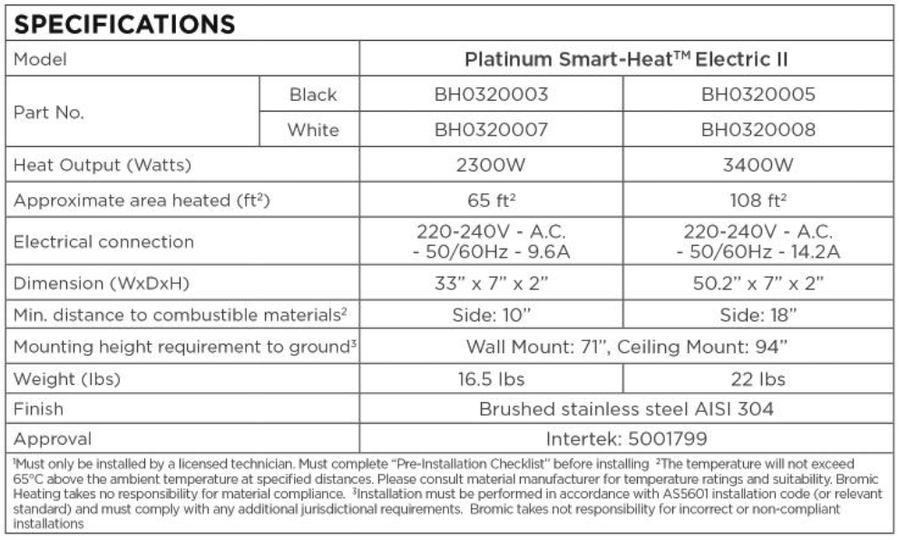 Bromic 3400 Watt Platinum Smart-Heat Electric Heater 220V-240V