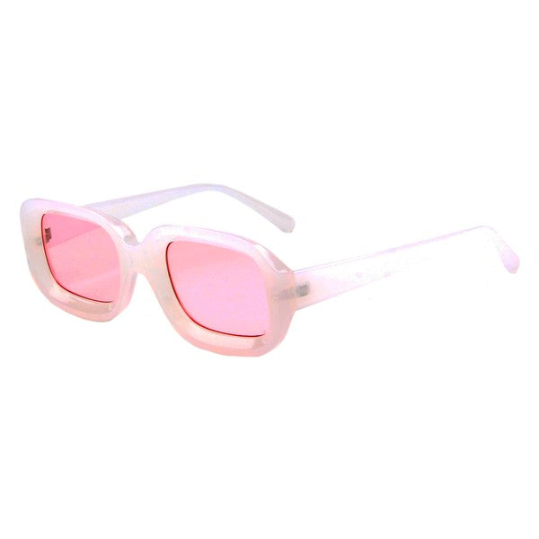Retro Rectangular Sunglasses - Pink