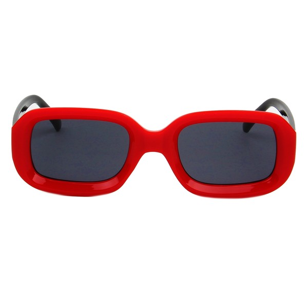 Retro Rectangular Sunglasses - Red