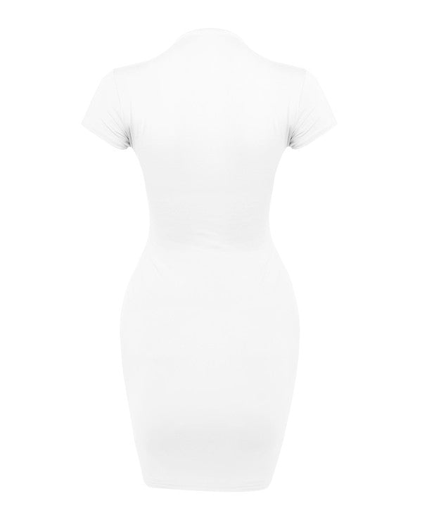 Mock Neck T-Shirt Dress - White