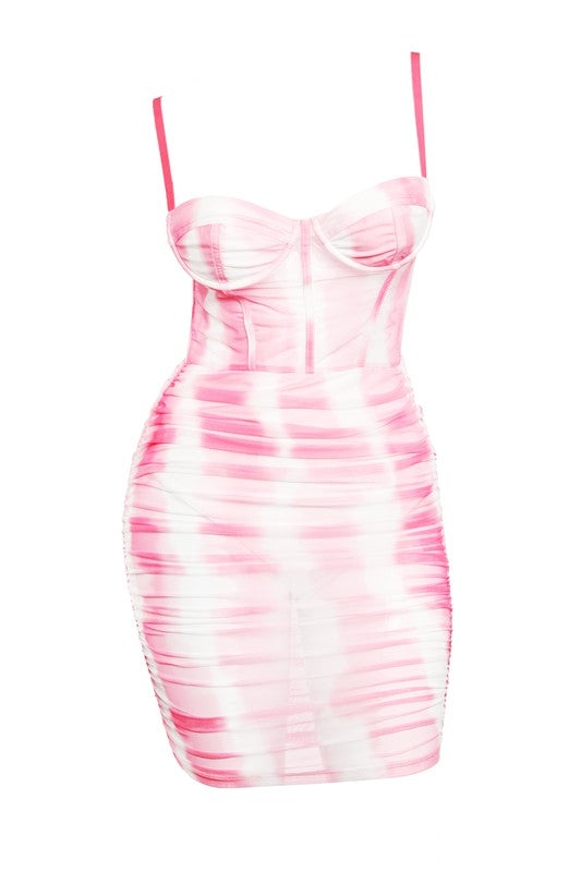 Tie Dye Ruched Mesh Dress