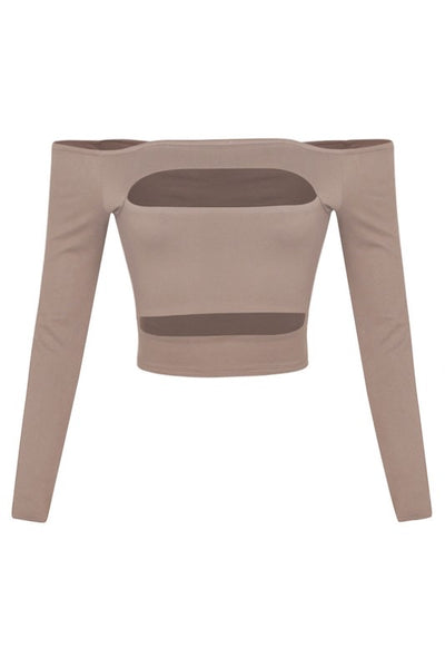 Cutout Front Crop Top - Khaki