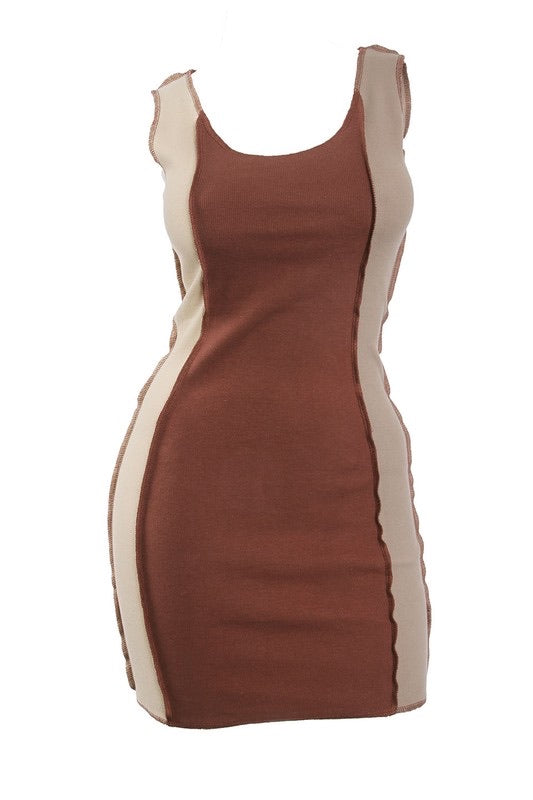Patchwork Colorblock Dress- Brown
