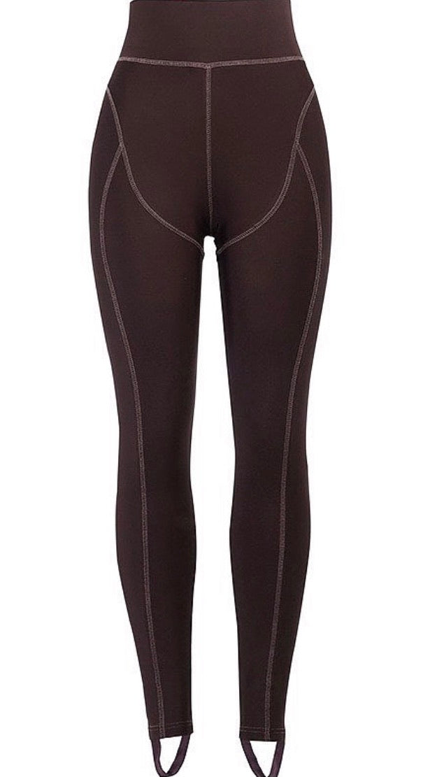 Contrast Stitch Leggings - Brown