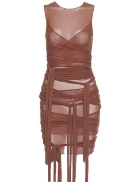 Wrap Me Up Mesh Dress - Brown