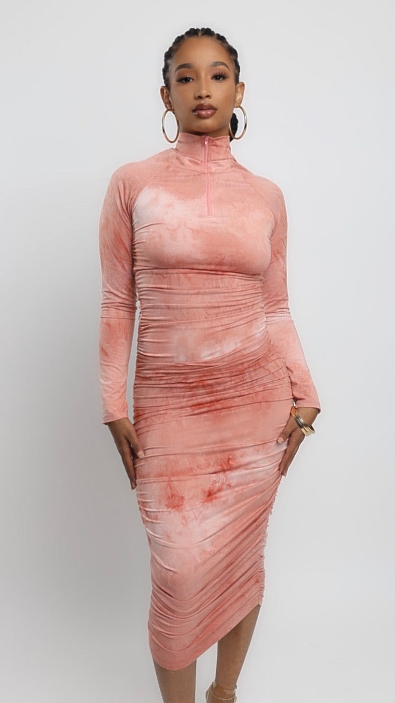 Peach tie dye bodycon dress