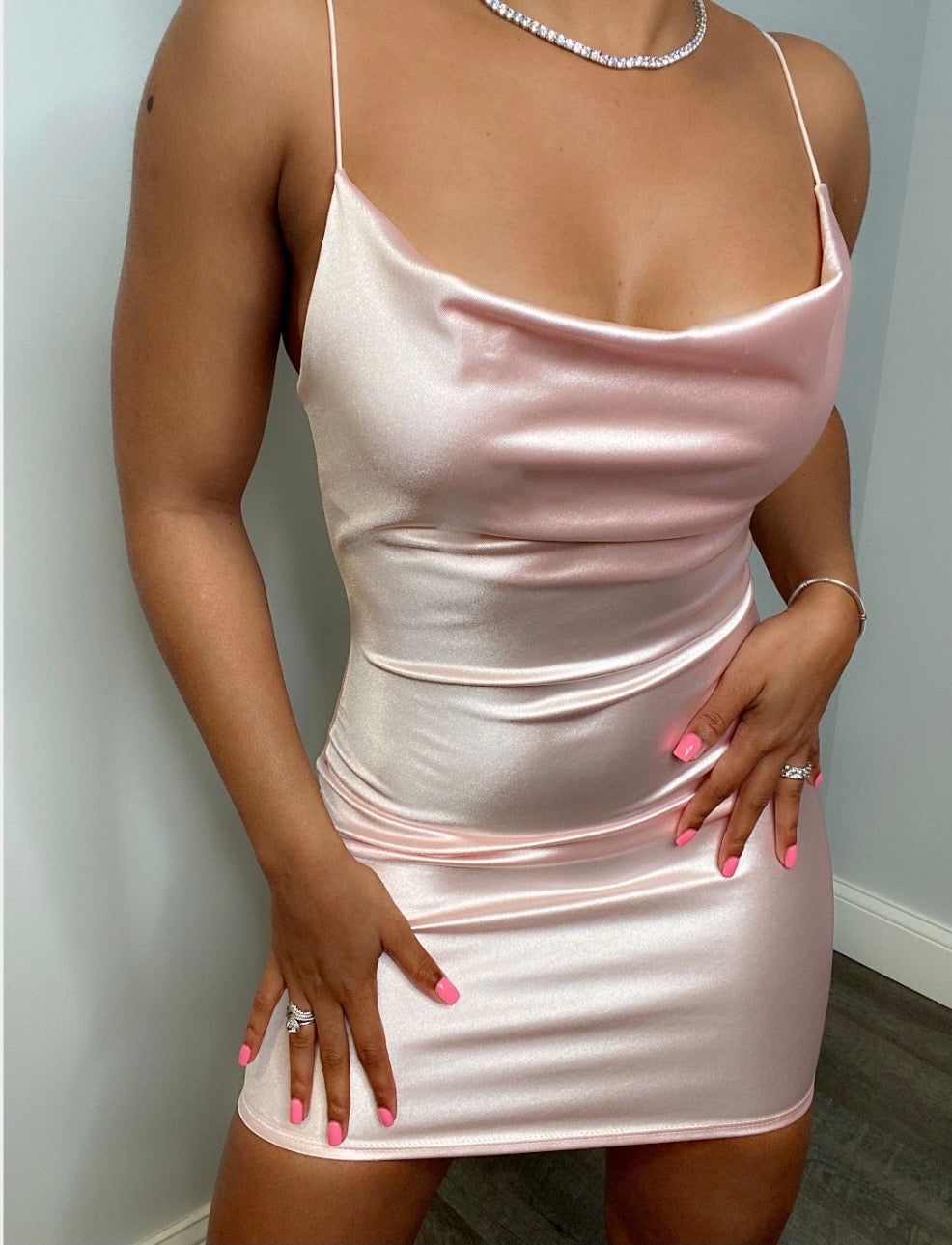 Satin Slip Dress - Pink