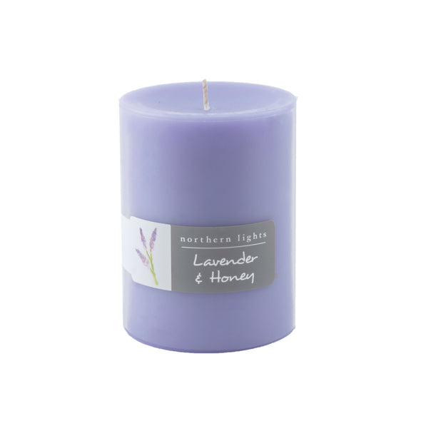Northern Lights Candles / 3x4 Pillar - Lavender & Honey