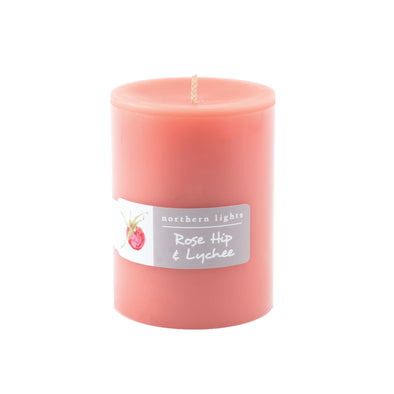 Northern Lights Candles / 3x4 Pillar - Rose Hip & Lychee