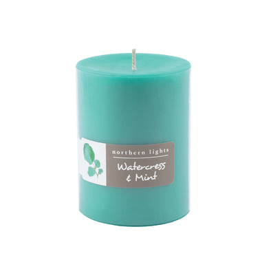Northern Lights Candles / 3x4 Pillar - Watercress & Mint
