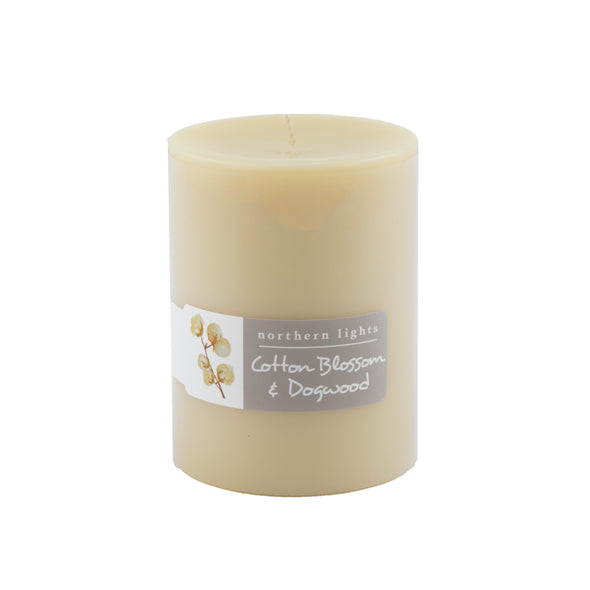 Northern Lights Candles / 3x4 Pillar - Cotton Blossom & Dogwood
