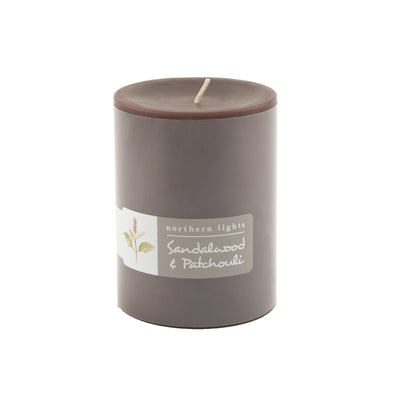 Northern Lights Candles / 3x4 Pillar - Sandalwood & Patchouli