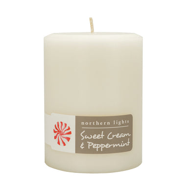 Northern Lights Candles / 3x4 Pillar - Sweet Cream & Peppermint