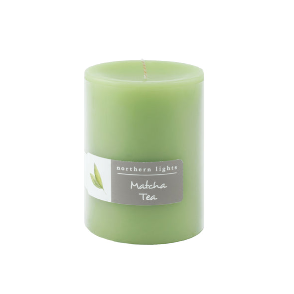 Northern Lights Candles / 3x4 Pillar - Matcha Tea
