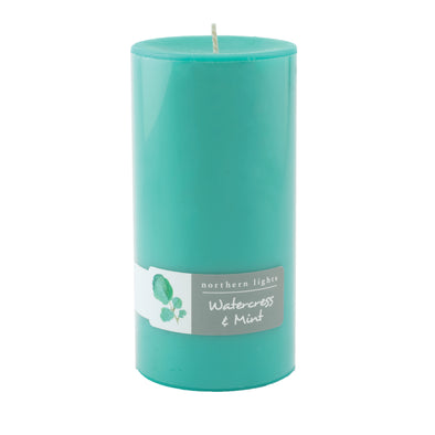 Northern Lights Candles / 3x6 Pillar - Watercress & Mint