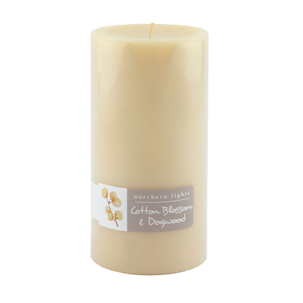 Northern Lights Candles / 3x6 Pillar - Cotton Blossom & Dogwood