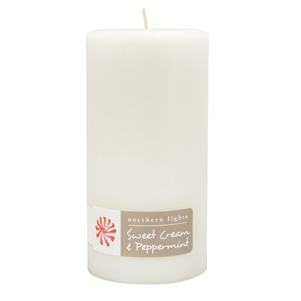 Northern Lights Candles / 3x6 Pillar - Sweet Cream & Peppermint