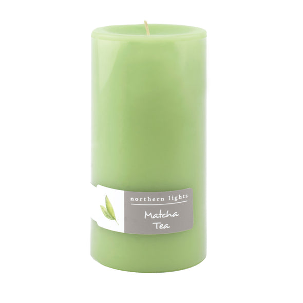 Northern Lights Candles / 3x6 Pillar - Matcha Tea