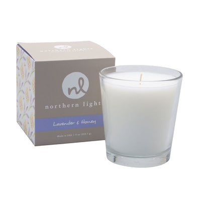 Northern Lights Candles / White Candle - Lavender & Honey