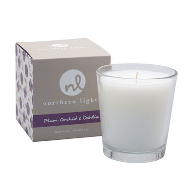 Northern Lights Candles / White Candle - Plum Orchid & Dahlia