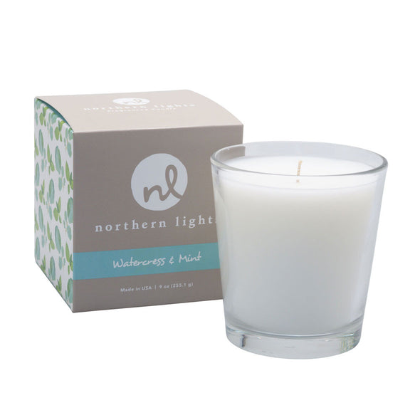 Northern Lights Candles / White Candle - Watercress & Mint