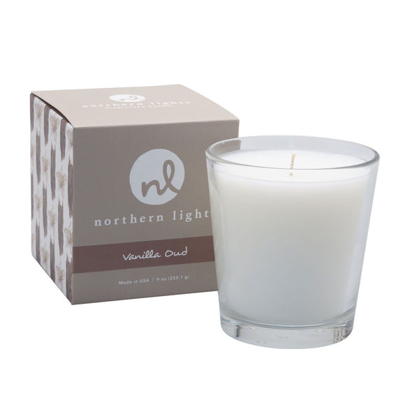 Northern Lights Candles / White Candle - Vanilla Oud