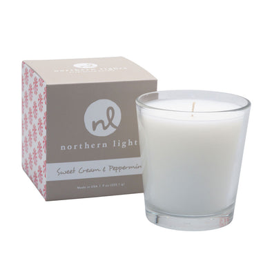Northern Lights Candles / White Candle - Sweet Cream & Peppermint