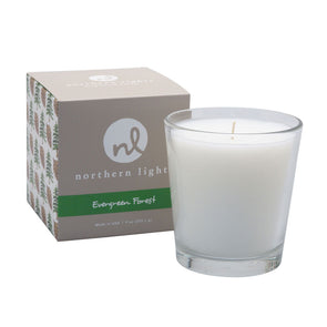 Northern Lights Candles / White Candle - Evergreen Forest
