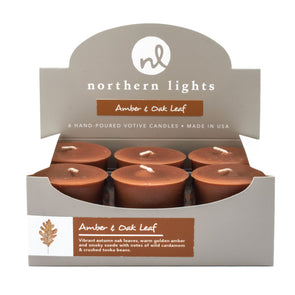 Northern Lights Candles / Votives - Amber & Oak Leaf