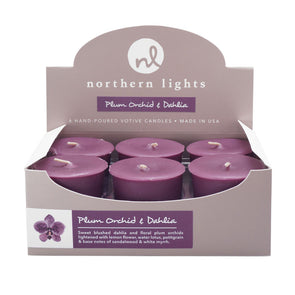 Northern Lights Candles / Votives - Plum Orchid & Dahlia
