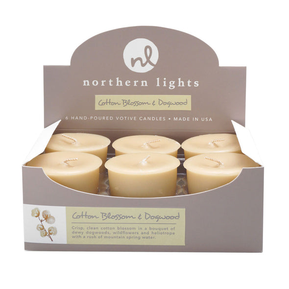 Northern Lights Candles / Votives - Cotton Blossom & Dogwood