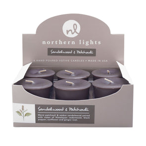 Northern Lights Candles / Votives - Sandalwood & Patchouli