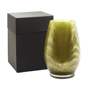 "Northern Lights Candles / 9"" Filled Vase - Olive"