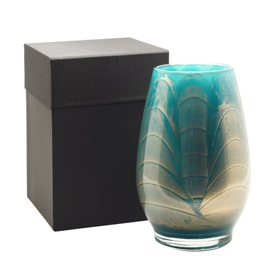 "Northern Lights Candles / 9"" Filled Vase - Turquoise"