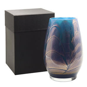 "Northern Lights Candles / 9"" Filled Vase - Midnight"