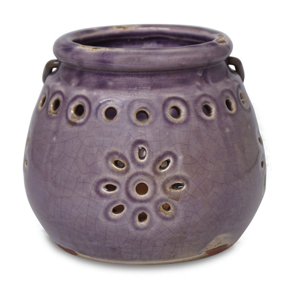 Northern Lights Candles / Stoneware Lantern - Amethyst