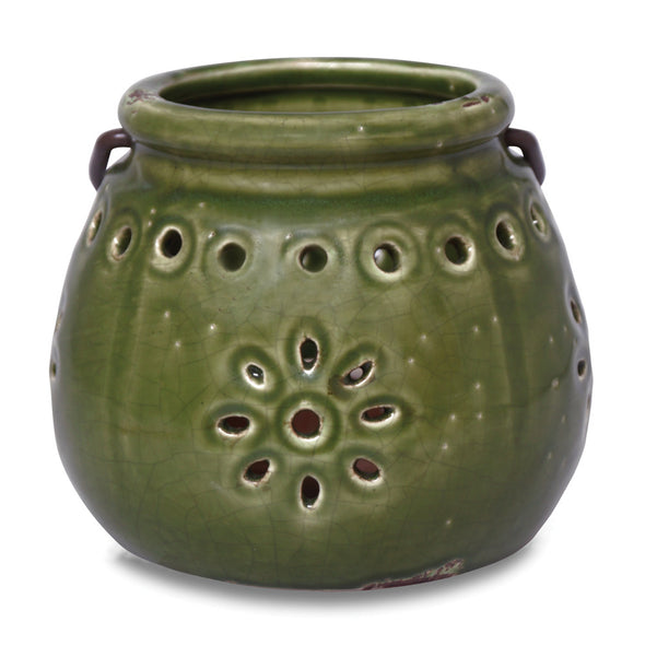Northern Lights Candles / Stoneware Lantern - Moss Green
