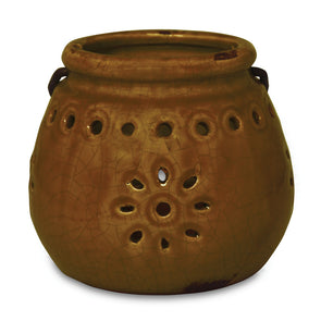 Northern Lights Candles / Stoneware Lantern - Brown