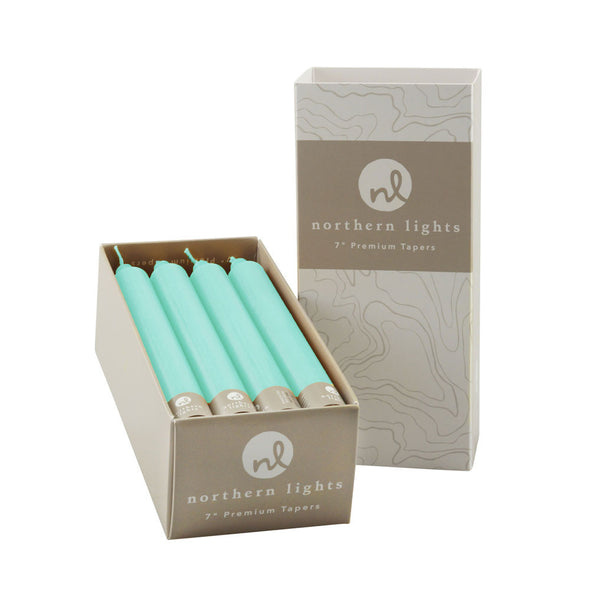 "7"" Tapers 12pk - Aqua - Northern Lights Candles"