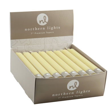 "Northern Lights Candles / 7"" Tapers 24pk - Custard"