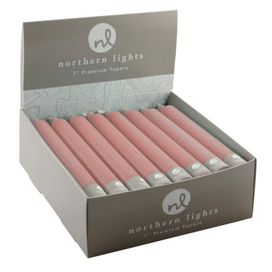 "7"" Tapers 24pk - Dusty Rose - Northern Lights Candles"