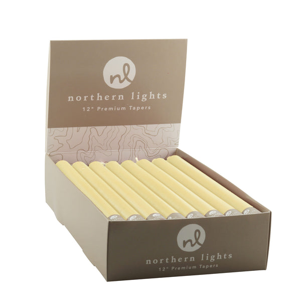 "Northern Lights Candles / 12"" Tapers 24pk - Custard"