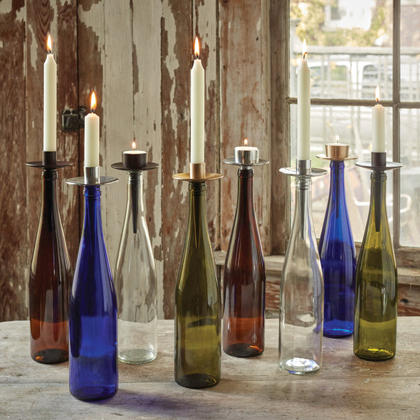 Northern Lights Candles / Bottelabra - Gold Taper Holder
