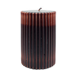 Northern Lights Candles / Embers Ribbed Pillar 4x6 - Chocolate