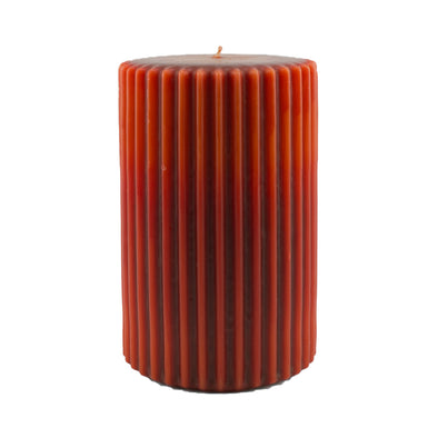 Northern Lights Candles / Embers Ribbed Pillar 4x6 - Deep Red