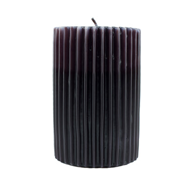 Northern Lights Candles / Embers Ribbed Pillar 4x6 - Ebony