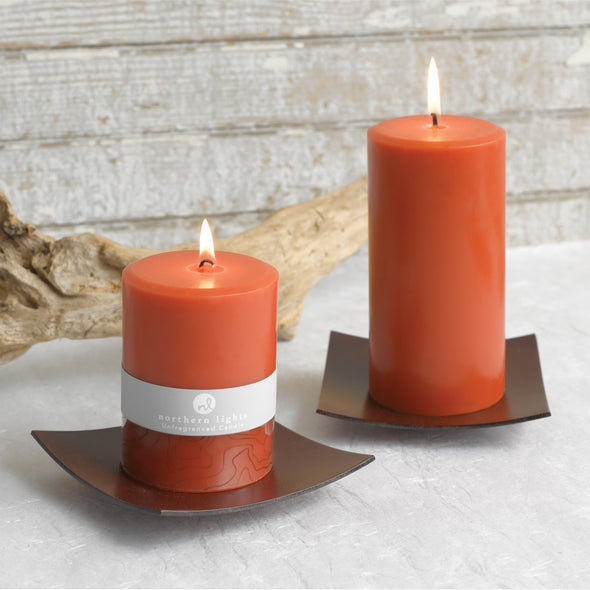 Northern Lights Candles / Kobe - Rustic Brown Plate